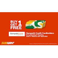Buy 1 Get 1 Free all Subs at Subway for Sampath Bank Cardholders