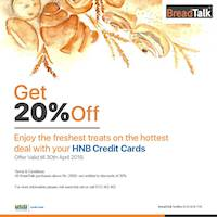Enjoy the freshest treats on the hottest deal with your HNB credit cards at BreadTalk
