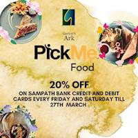 20% off on PickMe Food every Friday & Saturday for Sampath Credit & Debit Cards at Garton's Ark