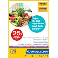 25% Discount for credit cards at Laugfs Super and Laugfs Super Mart