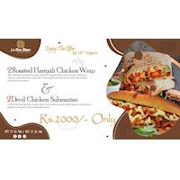 Get 2 Roasted Chicken Wraps and 2 Devil Chicken Subs for just Rs. 2,000/- only at La rose Blanc