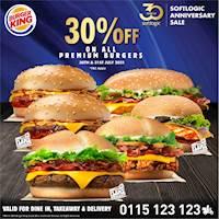 Enjoy 30% off on all Premium Burgers at Burger King