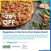 Enjoy 20% off on dine-in, takeaway and delivery using your HNBcredit card at Harpo's Pizza
