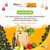 Save Rs. 200 for Orders above Rs.1000 from PickMe Market with People's bank Credit Card