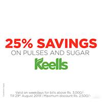 Enjoy 25% Off on Pulses & Sugar, when you shop with your DFCC Credit Card at all Keells Supermarkets! Offer valid on weekdays for bills above Rs. 3,000