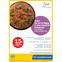 Enjoy 15% Discount for ComBank Credit and Debit Cards at Harpo's Pizza & Pasta