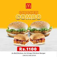 Get 2 McChicken and 2 Crispy Chicken Burgers for just Rs.1,100 at McDonalds