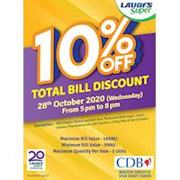 Enjoy 10% off discount on TOTAL BILL at LAUGFS Super for CDB Master credit cards and VISA debit cards.
