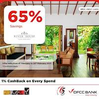 Enjoy 65% savings on FB | SGL/DBL/TPL at The River House for DFCC Credit & Debit Cards