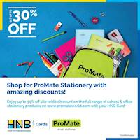 Enjoy up to 30% off when you shop school and office stationery products from promateworld.com with your HNB Card