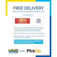 FREE Delivery - HNB partners with PickMe to support the community during this crisis!
