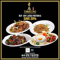 Order a large portion of rice, noodles, chicken or pork to save 20% exclusively on in-house, UberEats and PickMe delivery orders from Tsing Tao