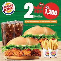 Enjoy having to dig into 2 Spicy Chicken Burgers 2 Small Thick Cut Fries with 2 Complimentary Drinks for just Rs.1200/- at Burger king