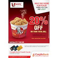 20% savings for Cargills Bank Mastercard Credit and Debit Card holders at KFC Sri Lanka