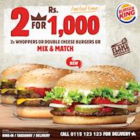 Get 2 Whoppers or 2 Double Cheese Burgers for the price of just Rs. 1,000/- at Burger King