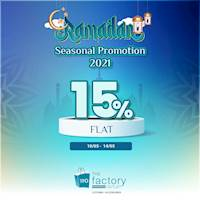 Flat 15% off on everything at The Factory Outlet