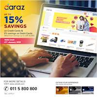 Up to 15 % Savings on Union Bank Credit Cards & 5 % savings on Debit Cards at Daraz