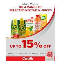Get up to 15% on selected Nectar & Juices at Cargills FoodCity!