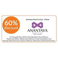 60% discount on double and triple room bookings on full board, half board stays at Anantaya Resort & Spa, Chilaw for Sampath Cards