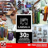 30% off at Laksala for Pan Asia Bank Credit and Debit Cards
