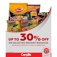 Get up to 30% off on Selected instant noodles only at Cargills FoodCity!