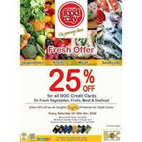 Enjoy 25% off on fresh vegetables, fruits, seafood & meat for BOC Credit Cards at Cargills Food city