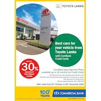 Up to 30% Discount for Combank Credit Cards at Toyota Lanka