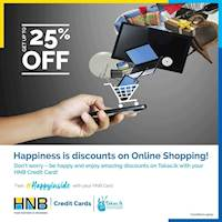 Enjoy up to 25% off on selected items + up to 48 months 0% interest installment plans at Takas.lk with your HNB Credit Card!