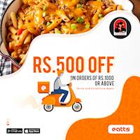 Rs. 500 off on any order of Rs. 1000 or above via Eatts from Coco Veranda