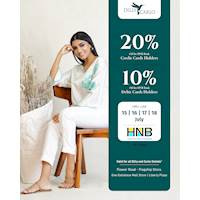 Enjoy up to 20% Off for HNB bank credit and Debit cards at any Dilly & Carlo outlet