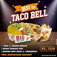 Buy 1 Taco + 1 Naked Chicken Taco + 1 Griller + 1 Nachos + 1 Chocodilla for Rs1350 at Taco Bell Horton Place & MT Lavinia