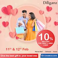Enjoy 10% discount for the total bill with Commercial Bank credit & debit cards at Diliganz