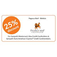 25% discount on double & triple room bookings at Pegasus Reef, Wattala for all Sampath Bank Credit Cards