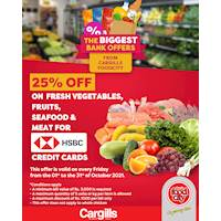 Get 25% OFF on fresh vegetables, fruits, seafood and meat on every Friday for HSBC credit cardholders at Cargills FoodCity