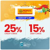 Enjoy up to 25% for People's Bank Cards at The Factory Outlet