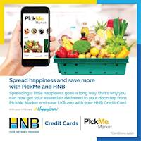 Use your HNB Credit Card with PickMe and get Rs. 200 off your total bill when ordering essentials