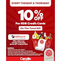 Get 10% OFF on your total bill when you pay using your NDB Bank Credit Cards