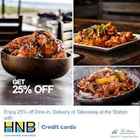 Get 25% with HNB Credit cards at the Station!