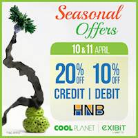 Enjoy 20% Off on HNB Credit Card & 10% Off Debit Card at any Cool Planet store or www.coolplanet.lk