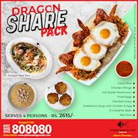 Dragon Share Pack (Rs. 2615/ for 4 persons) at Chinese Dragon Cafe!