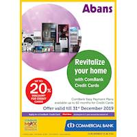 Up to 20% discount from Combank credit cards at Abans