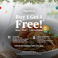 Buy 1 and Get 1 Free on selected dishes and beverages at PappaRich