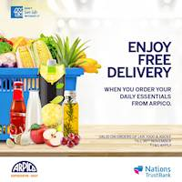 Order your essentials online from Arpico and Enjoy free delivery when you shop with your Nations Trust Bank American Express Card!
