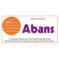 Up to 20% discount on selected products with 12, 24, 36 and 60 months 0% interest instalment plan at all Abans showrooms for Sampath Bank Cards