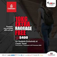 Book your Air Tickets on Emirates and Get 10 KG Extra Baggage Free value up to $400 for Students Exclusively at Classic Travel