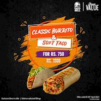 Classic Burrito and a Soft Taco for just Rs. 750 at Taco bell