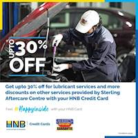 Get up to 30% off for lubricant services and more discounts on other services provided by Sterling Aftercare Centre using your HNB Credit Card