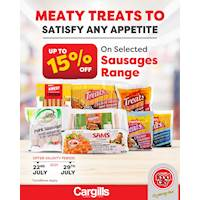 Get up to 15% OFF on Selected sausages at Cargills Food City