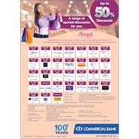 Women's Day Promotion: A range of Special Discounts for Anagi Account Holders at Commercial Bank