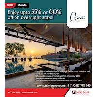 Enjoy up to 55 % or 60 % off on over night stay swith NDB Credit and Debit cards at Arie Lagoon